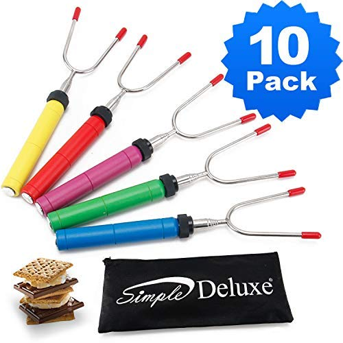 Simple Deluxe LGFORKTLSCP34X5X2 Telescoping Skewers & Hot Dog Forks 34 Inch Marshmallow Roasting Sticks, Multi-Color by Simple Deluxe