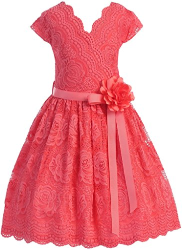 Big Girls' Cap Sleeve Lace Floral Holiday Party Summer Flower Girl Dress USA Coral 14 (J20KS66)