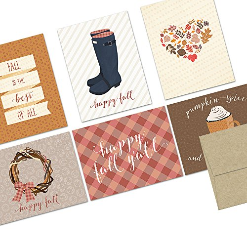 Note Card Cafe Autumn Cards with Kraft Envelopes | 72 Pack | Its Fall Yall Designs | Blank Inside, Glossy Finish | Holiday, Winter, Christmas