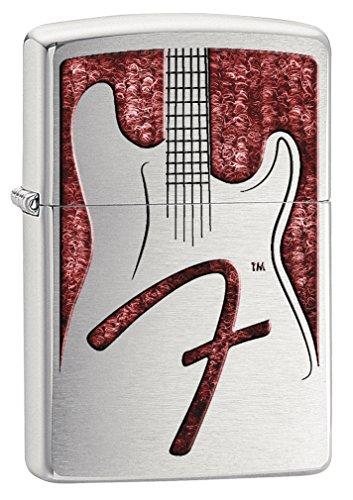 Guitar Lighter (Zippo Lighter: Fender Guitar on Red - Brushed Chrome 77601)