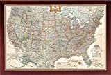 FRAMED Vintage Map United States (Map of the United States) (USA Map) Mounted in Walnut Brown Frame Picture