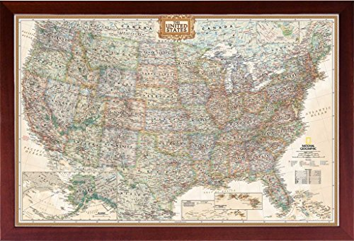nited States (Map of the United States) (USA Map) Mounted in Walnut Brown Frame ()