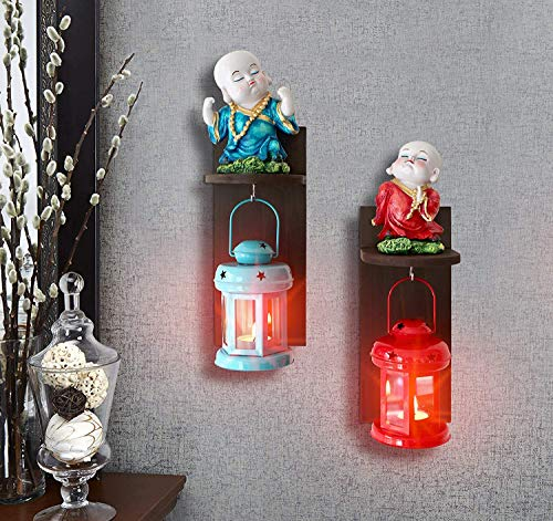 TIED RIBBONS Wall Hanging Little Monk Figurines with Hanging Lantern and Wall Shelf for Bedroom, Living Room,Outdoor Garden Home Decor and Gift