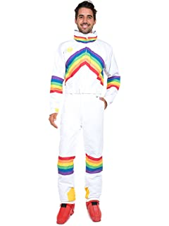 292de841b0 Tipsy Elves Men s 80 s Retro Sunrise Shredder Ski Suit - Rainbow Neon Retro  ...