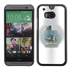Qstar Arte & diseño plástico duro Fundas Cover Cubre Hard Case Cover para HTC One M8 ( Cat Fish Tank Bowl Grey Feline Art Drawing)
