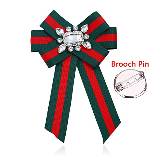Long Ribbon Brooches Pre-Tied Stripe Knot Bow Neck Tie Pin Bow Collar JW50 (F1) - Pre Tied Long Tie