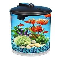 El tanque de peces AquaView de 2 galones 360 de Koller Products con filtro de energía e iluminación LED - AQ360-24C