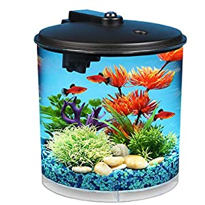 Koller Products AquaView 2-Gallon 360 Fish Tank with Power Filter and LED Lighting - AQ360-24C 25