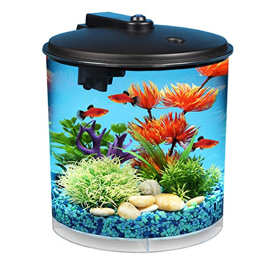 (Koller Products AquaView 2-Gallon 360 Fish Tank with Power Filter and LED Lighting - AQ360-24C)