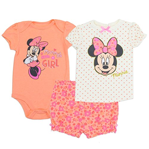 Minnie Mouse 0-9 Month Baby/Infant/Newborn 3-Piece Short Set for Girls (Coral, 3/6 Month) -