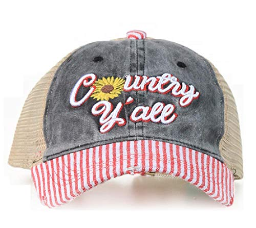 Southern Junkie High Ponytail Bun Trucker Mesh Vented Baseball Hat Cap (Country Yall Pinstripe red)