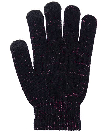 BYOS Unisex Winter Convenient Texting Stretch Magic Gloves for All Touchscreen Devices Smartphone & Tablet Three Fingertips Conductive Tech (Glitter Pink)
