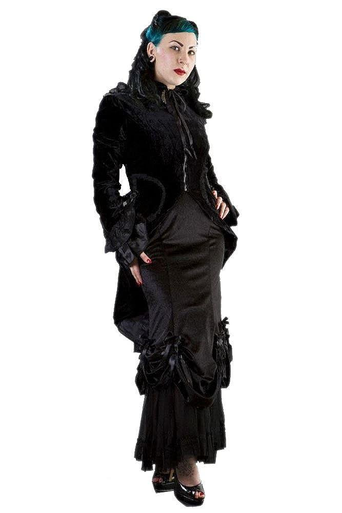 Women's Black Velvet Pirate Coat (Coat Only) - DeluxeAdultCostumes.com