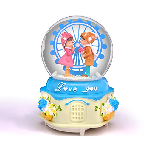 (Blue Musical Snow Globes Ferris Wheel with Color Change Led Light,Snow Globes Music Boxes for Girls)