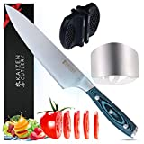 New! - Japanese Chef's Knife Bundle by Kaizen Cutlery. The best 8 inch chef knife. A classic kitchen gift with sharpener & finger guard. Sharp professional blade made of high carbon stainless steel