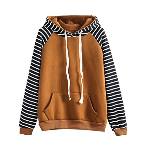 Hoodie for Womens, FORUU Striped Hooded Long Sleeve Casual Sweatshirt Pullover (Mexico Womens Sleeve Cap T-shirt)
