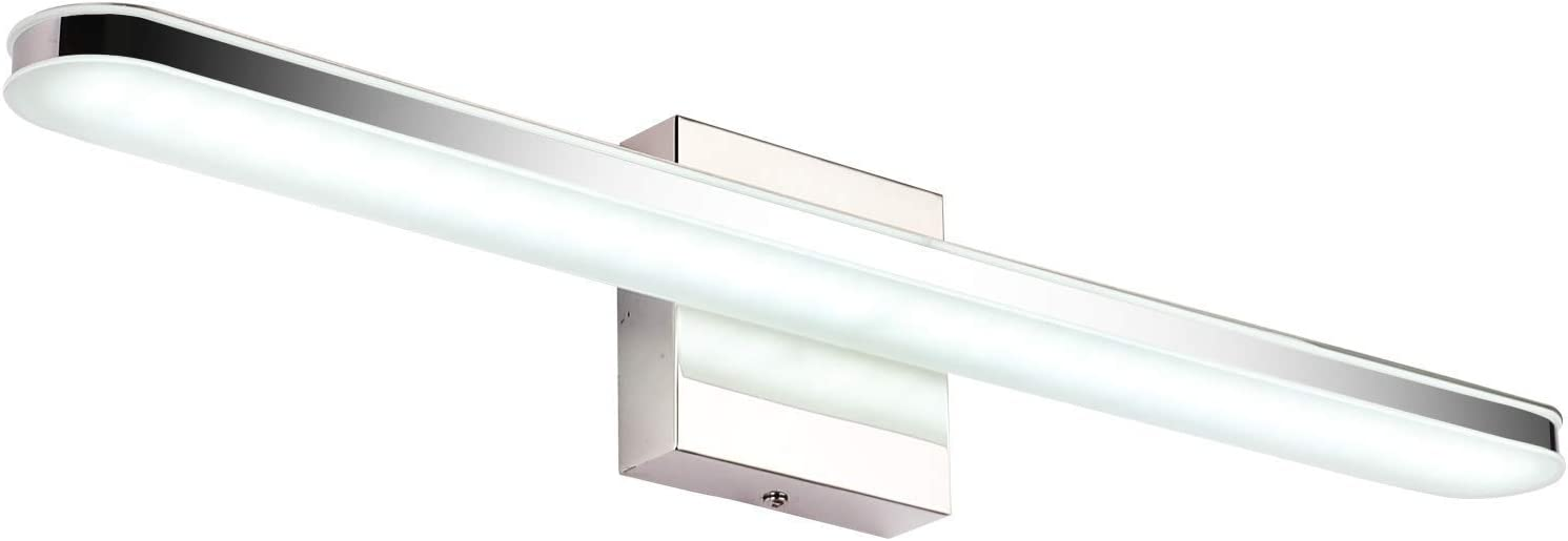 SOLFART 23.6 LED Bathroom Vanity Lighting Fixtures Long Shade Stainless Steel Bath Mirror Lamps Wall Lights