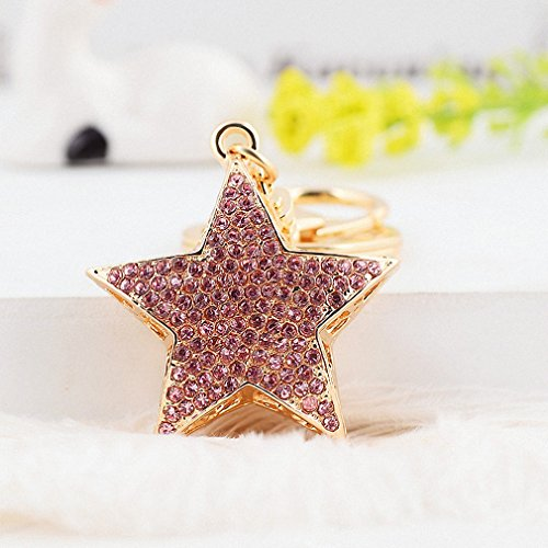 Womens Hot Sale 3 Colors Bing Full Crystal Star Shape Key Chain Rhinestone Handbag Charm Pendant Accessories Key Ring Jewelry White ()