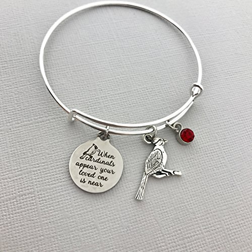 When Cardinals appear your loved one is near bracelet - Sympathy Gift Memorial Jewelry Family Loss Remembrance Adjustable Bangle Charm