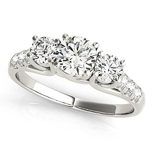 JewelMore 14k White Gold Three-Stone Engagement Ring (0.50 Carat, I-J Color, I2-I3 Clarity) (7) by JewelMore (Image #4)