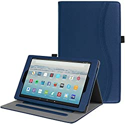 Fintie Case for All-New Amazon Fire HD 10 Tablet (7th Generation, 2017 Release) - [Multi-Angle Viewing] Folio Stand Cover with Pocket Auto Wake / Sleep for Fire HD 10.1 Inch Tablet, Navy