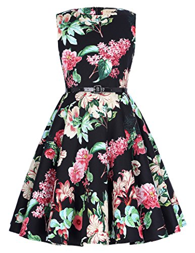 Flower Print Zipper - Retro Floral Knee-Length Summer Garden Party Dresses 10-11Yrs K250-7