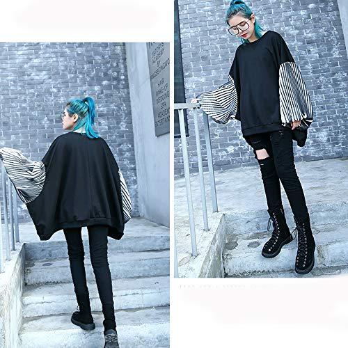 black Llxym onesize Brand Dimensioni Maglione Marea Maniche Donna Abbigliamento Girocollo Sottile Sciolto Primavera Plissettate Black Cucitura Grandi Autunno E Cappotto Txq6BTfwrU