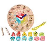 Youmiya educativo Montessori Math giocattolo bambini apprendimento gioco blocchi di legno intorno perline di numero orologio