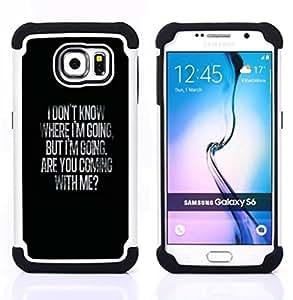 BullDog Case - FOR/Samsung Galaxy S6 G9200 / - / MESSAGE INSPIRING BLACK VALENTINES LOVE /- H??brido Heavy Duty caja del tel??fono protector din??mico - silicona suave