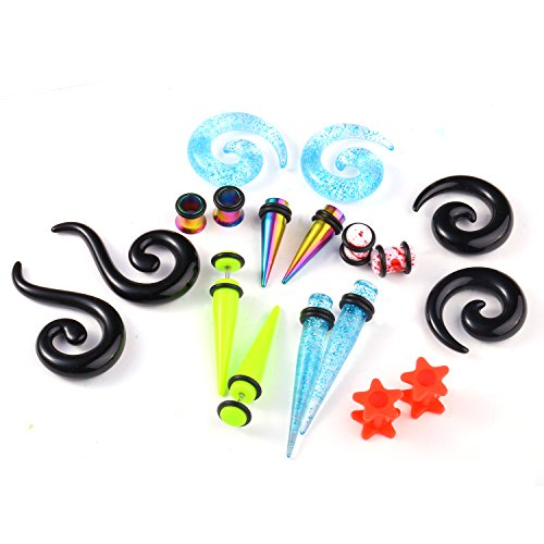 - BodyJ4You 18PC Random Mix Gauges 0G Assorted Plug Tunnel Taper Steel Acrylic Silicone Expanders