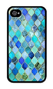 Iphone 4s Case,WENJORS Cute Cobalt Blue Aqua Gold Decorative Moroccan Tile Pattern Soft Case Protective Shell Cell Phone Cover For Iphone 4s - TPU Black