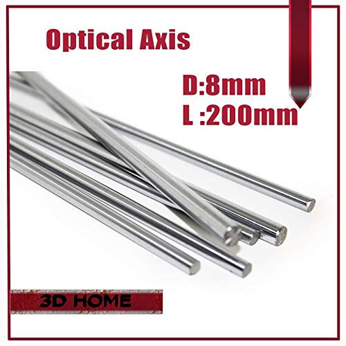 GIMAX 1pcs OD 8mm x 200mm Cylinder Liner Rail Linear Shaft Optical Axis Chrome 688ZZ for 3D Printer Accessory for CNC - (Size: 200mm Shaft)