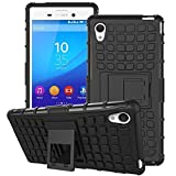 Sony Xperia M4 Aqua Case,Mama Mouth Shockproof Heavy Duty Combo Hybrid Rugged Dual Layer Grip Cover with Kickstand For Sony Xperia M4 Aqua (With 4 in 1 Free Gift Packaged:Black Stylus Touch Pen,Black Silicone Fish Headset Wrap,Black Micro USB Port Anti Dust Plugs,Black 3.5mm Headphone Jack Anti Dust Plugs), Black