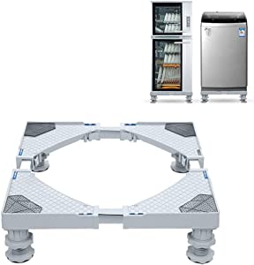 Mini Fridge Stand, Multi-Functional Adjustable Movable Base Refrigerator Stand with 4 Strong Feets for Washing Machine Refrigerator and Dryer
