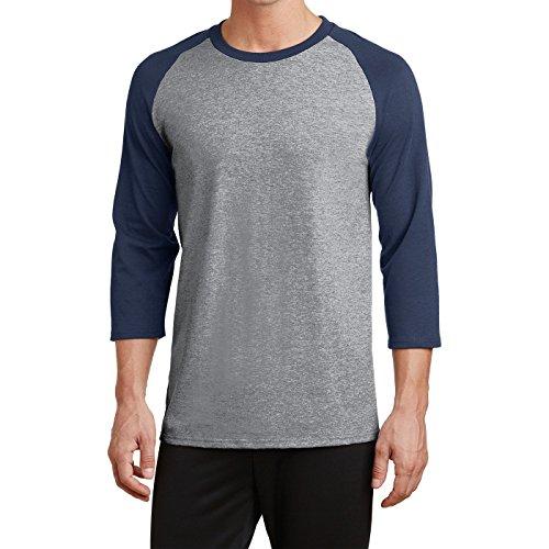 Men's Core 50/50 Blend 3/4-Sleeve Raglan Baseball Tee Athletic Heather/Navy Medium