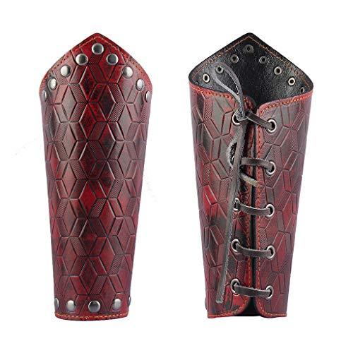(Jeilwiy Leather Gauntlet Wristband Medieval Archery Bracers Viking Wrist Guard Arm Armor Cuff Renaissance Costume)