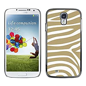 TopCaseStore Rubber Case Hard Cover Protection Skin for SAMSUNG GALAXY S4 - beige white pattern animal stripes