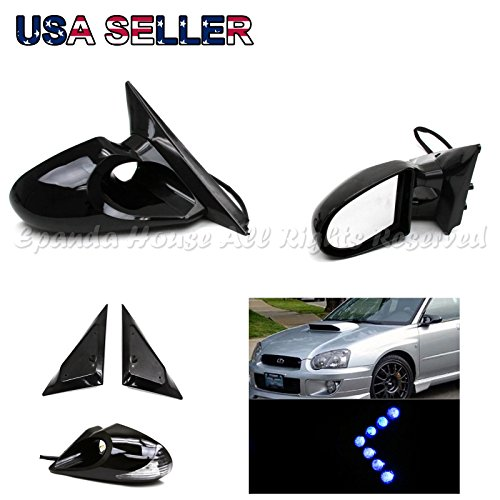 For 99-01 Bmw E46 3-Series 4Dr K6 Side Power Mirrors Blue Led Turn Signal (4dr Side Mirror)