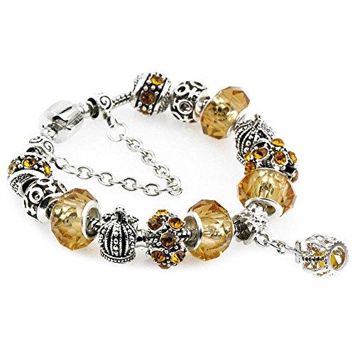 Women's Crystal Bracelet Pop Jewelry Exquisite Flower Bracelet(Yellow 20) -
