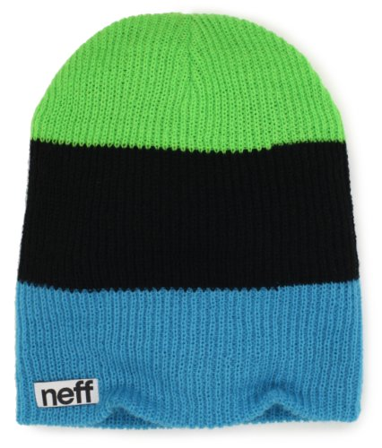 neff Men's Trio Beanie, Cyan/Black/Slime, One Size