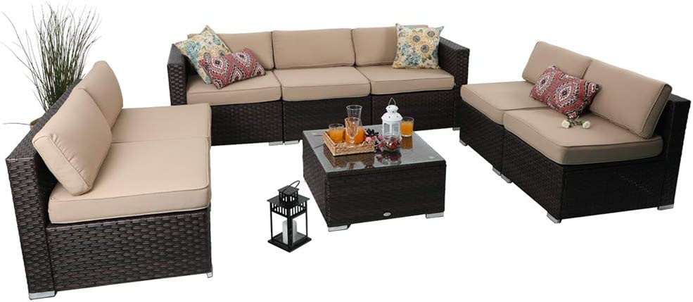 PHI VILLA Outdoor Patio Sofa- Patio Wicker Furniture Set 8-Piece, Beige
