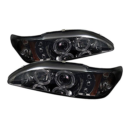 [For 1994-1998 Ford Mustang] LED Halo Ring Chrome Smoke Projector Headlight Headlamp Assembly, Driver & Passenger Side - Mustang Chrome Led Projector