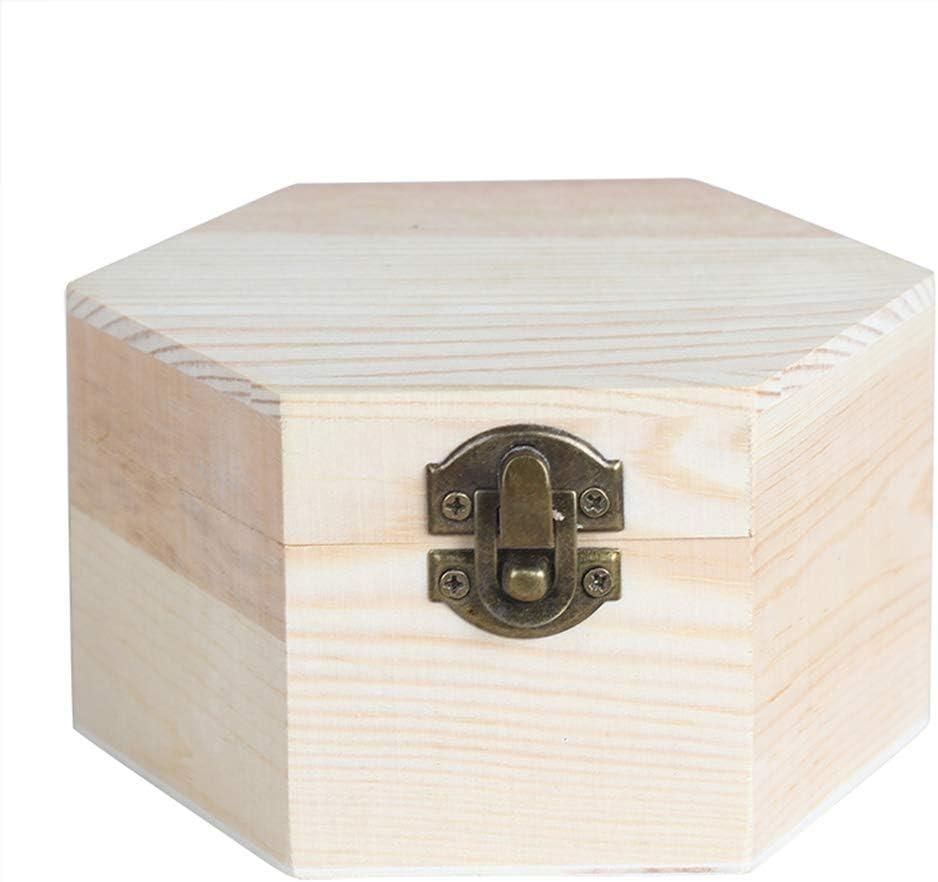 Heart Service - Caja de almacenamiento de madera con forma hexagonal, portátil, de alta calidad: Amazon.es: Amazon.es