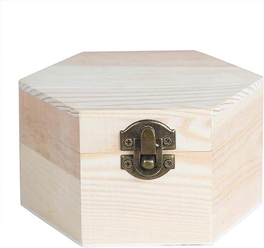 Ogquaton Caja de Almacenamiento de Madera con Forma Hexagonal ...