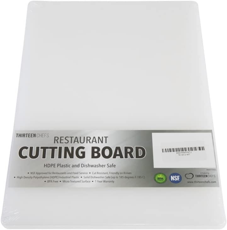 HDPE Poly for Restaurants Professional Plastic Brown Cutting Board 18 x 12 x 0.5 Inch Dishwasher Safe and BPA Free