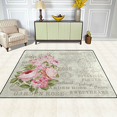 Alaza Shabby Chic Floral Flower Area Rug Rugs For Living