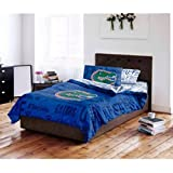 5 Piece NCAA University of Florida Gators Comforter Full Set, Sports Patterned Bedding, Featuring Team Logo, Fan Merchandise, Team Spirit, College Basket Ball Themed, Blue, Green, Multi, Unisex