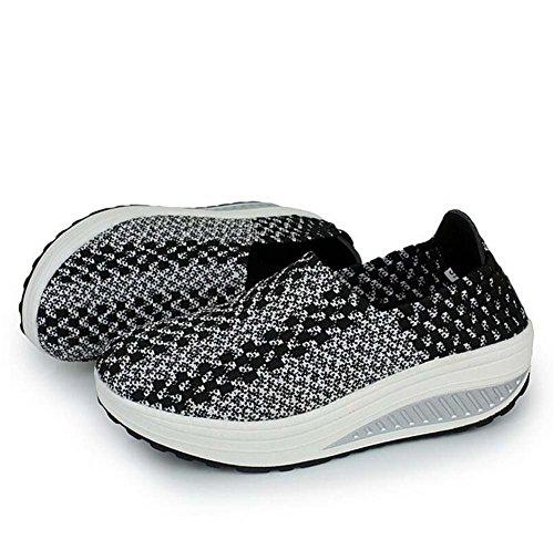 Zapatillas Casual para Mujeres Zapatos Deportivos de Primavera y Verano Zapatos Deportivos de Suela Gruesa Zapatillas Deportivas Running Talla 35-40 Negro