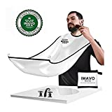 IMAVO Beard Bib Hair Clippings Catcher Grooming Cape Apron-Perfect Gift for Men Trimming Shaving with 4 Pack Suction Cup-White