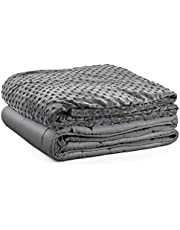 Premium Kids Weighted Blanket & Removable Cover-Dulcii 5 lbs Grey Weighted Blanket with Dotted Minky Duvet Cover|for a Child 40-60 lbs| 36 x48 inch |Cotton/Minky